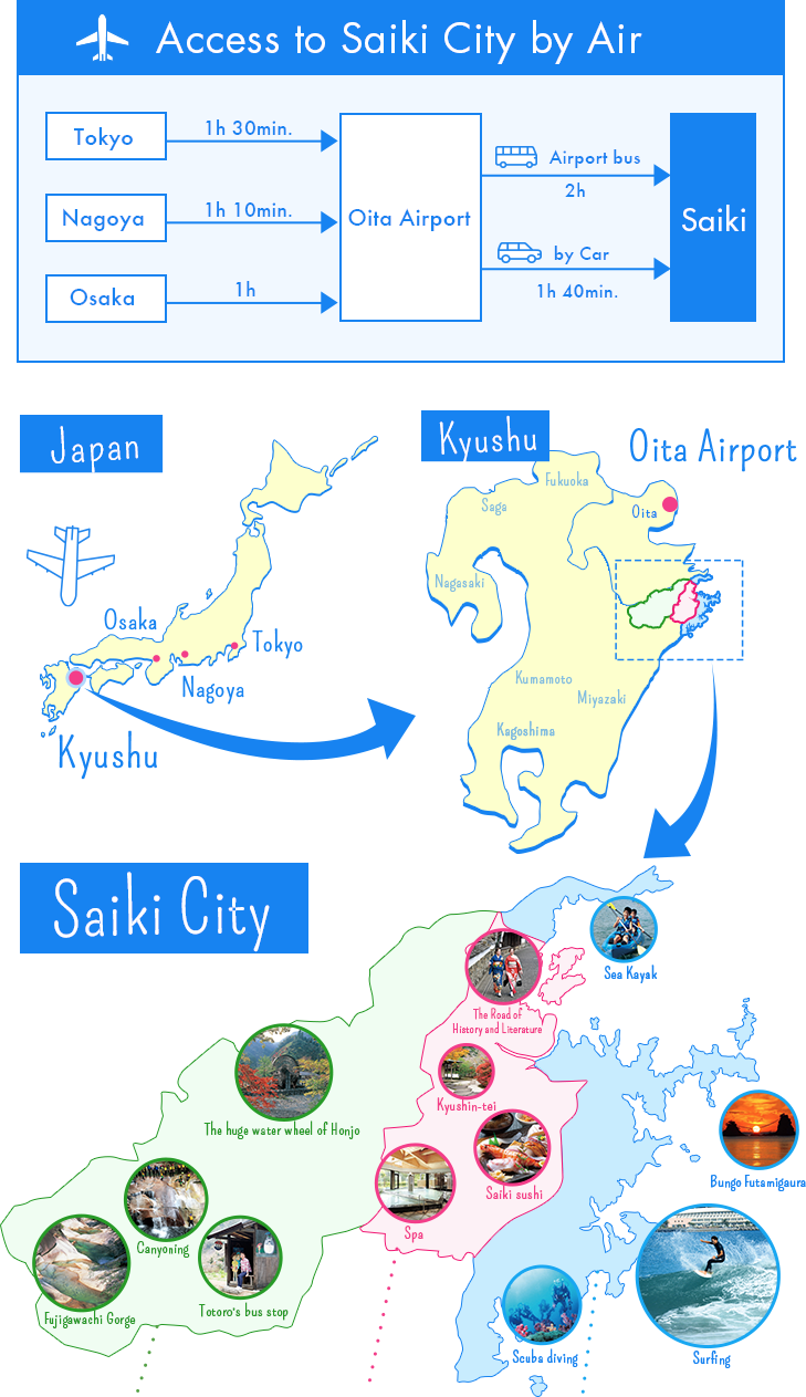 Saiki City Area Map